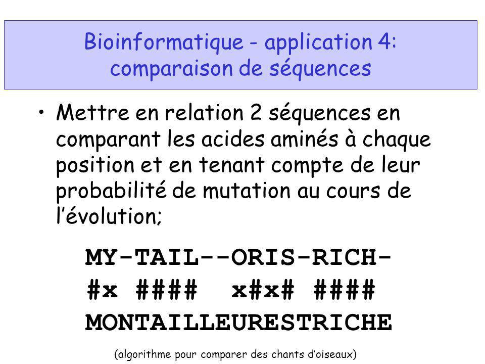 Bioinformatique - application 4: comparaison de séquences