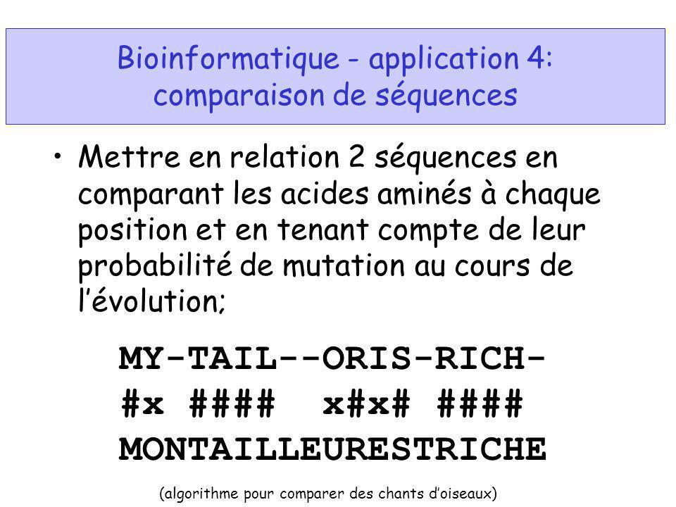 Bioinformatique - application 4: comparaison de séquences