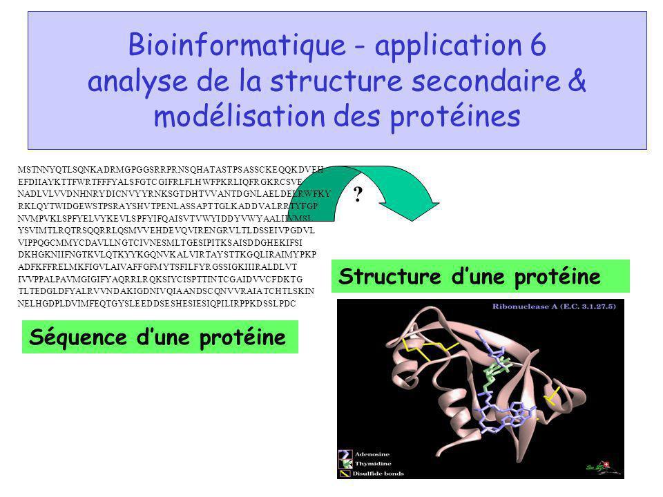 Bioinformatique - application 6 analyse de la structure secondaire & modélisation des protéines