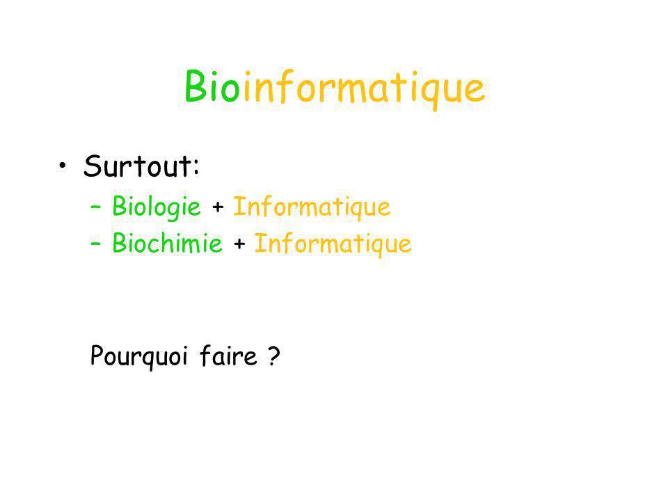 Bioinformatique Surtout: Biologie + Informatique