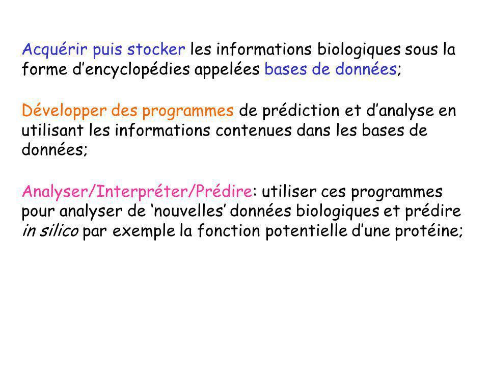Acquérir puis stocker les informations biologiques sous la forme d'encyclopédies appelées bases de données;