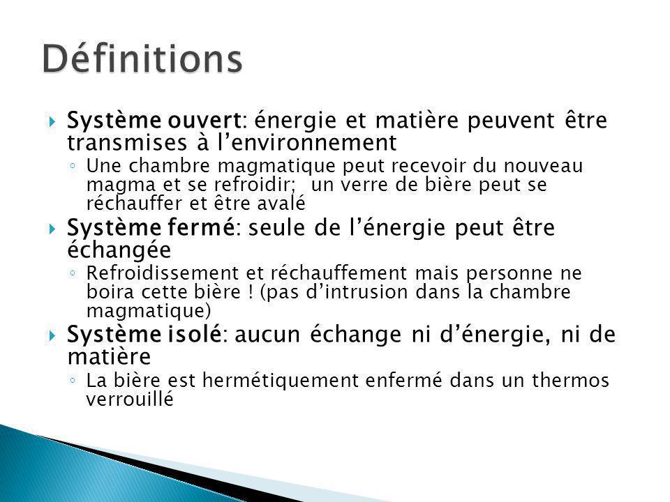 Définitions Système ouvert: énergie et matière peuvent être transmises à l'environnement.