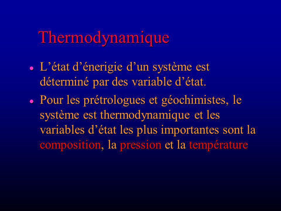 Thermodynamique L'état d'énerigie d'un système est déterminé par des variable d'état.