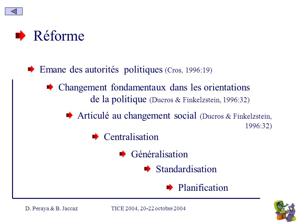 Réforme Emane des autorités politiques (Cros, 1996:19)
