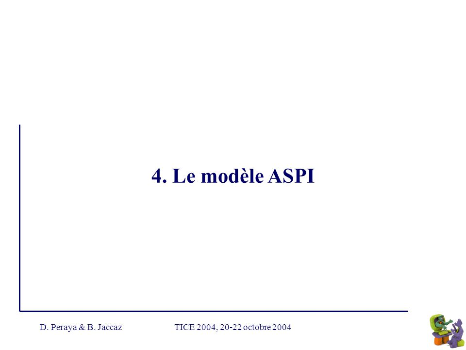 4. Le modèle ASPI D. Peraya & B. Jaccaz TICE 2004, 20-22 octobre 2004