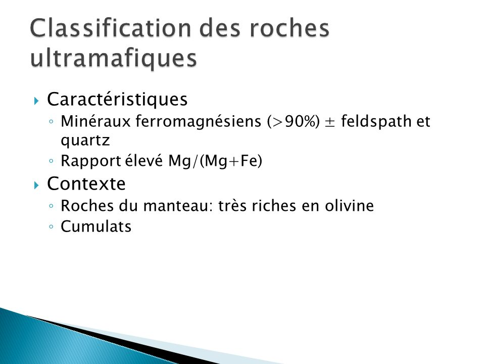 Classification des roches ultramafiques