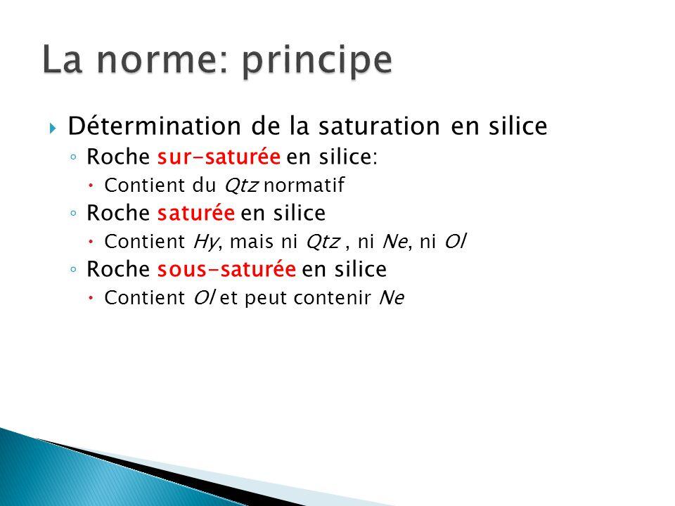 La norme: principe Détermination de la saturation en silice