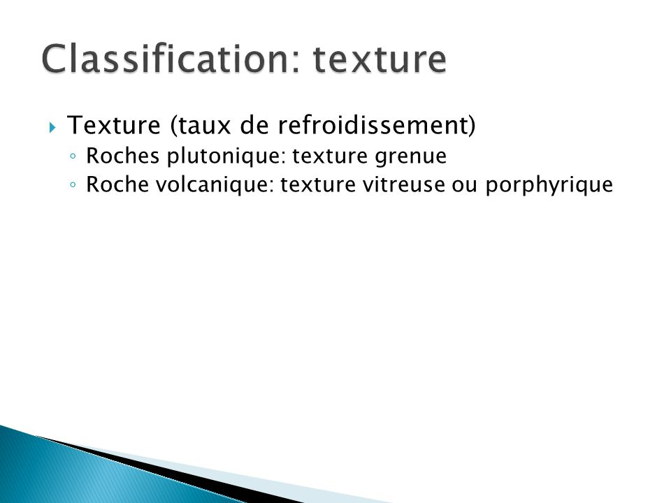 Classification: texture