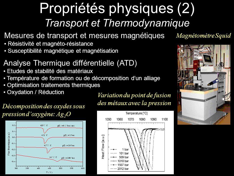 Propriétés physiques (2) Transport et Thermodynamique