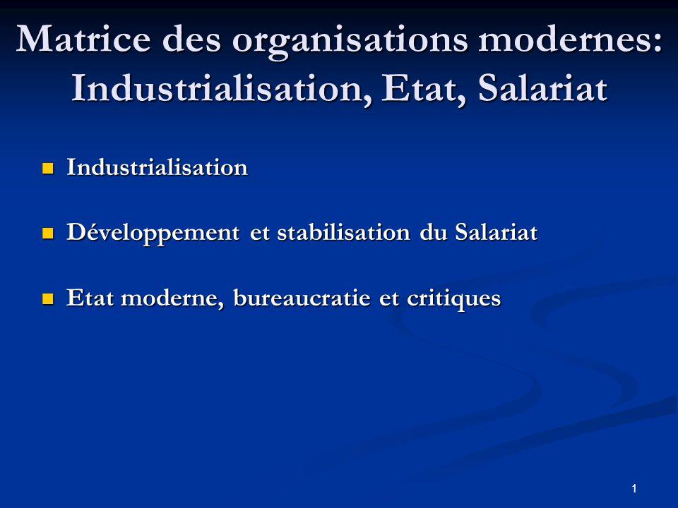 Matrice des organisations modernes: Industrialisation, Etat, Salariat