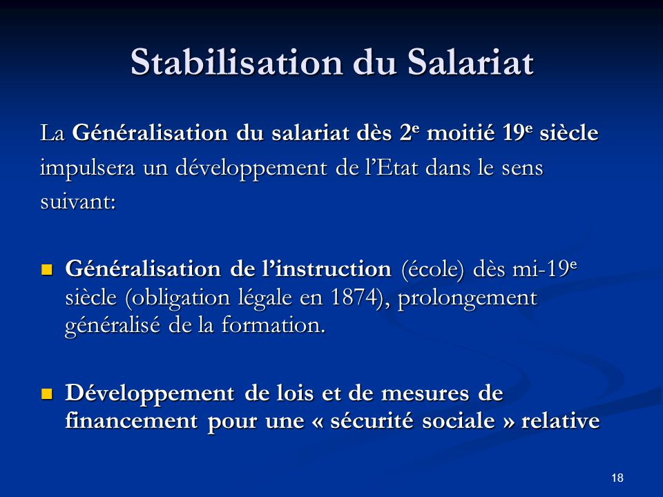 Stabilisation du Salariat