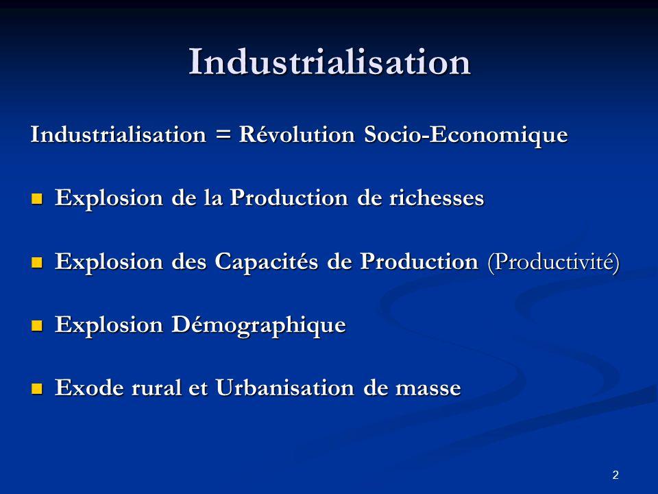 Industrialisation Industrialisation = Révolution Socio-Economique