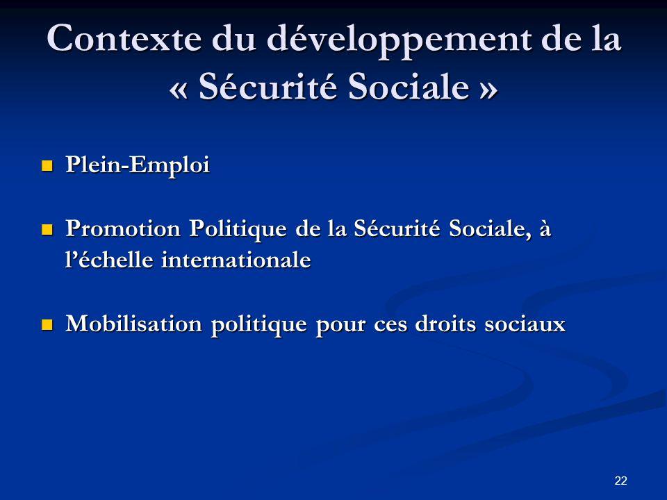 Contexte du développement de la « Sécurité Sociale »