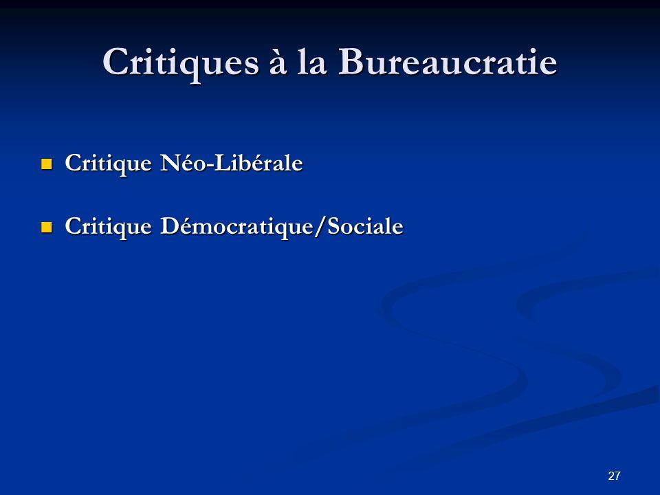 Critiques à la Bureaucratie