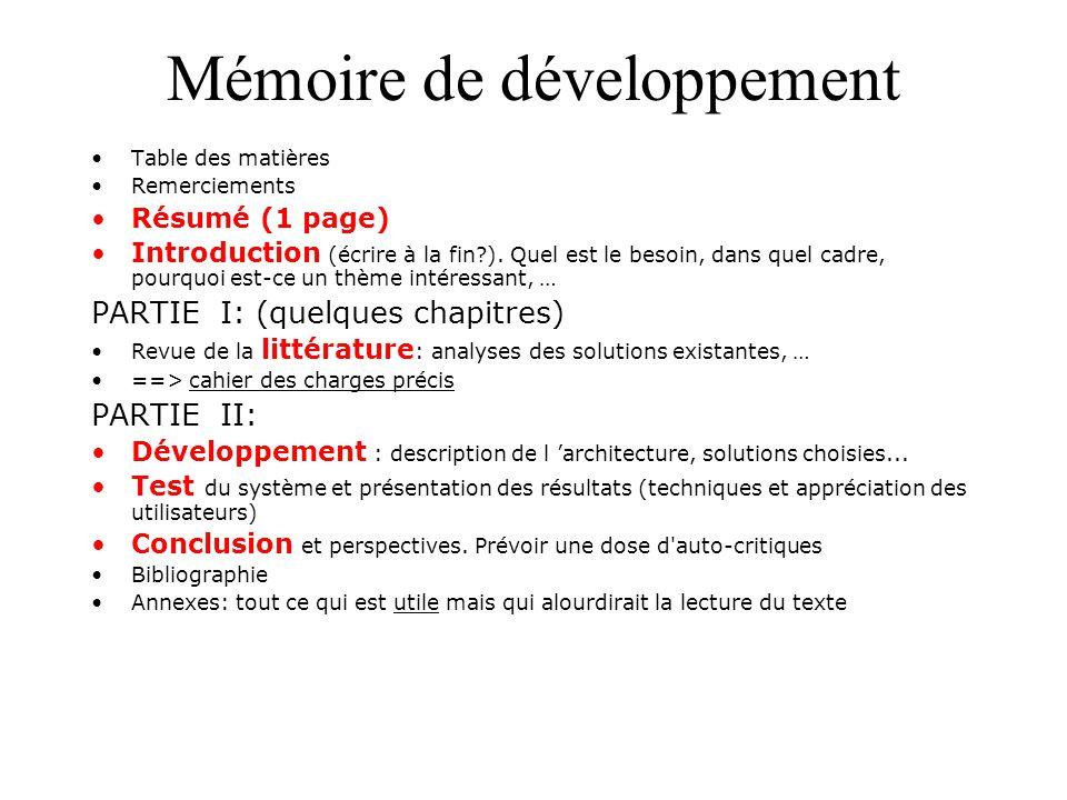 Mémoire de développement
