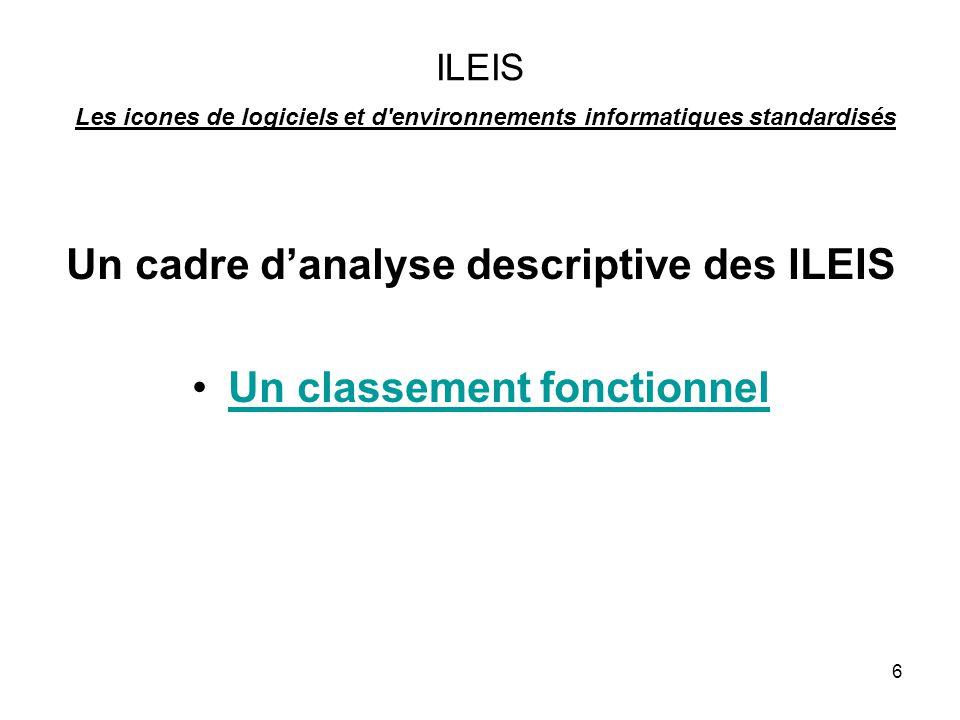 Un cadre d'analyse descriptive des ILEIS Un classement fonctionnel