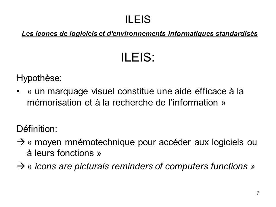 ILEIS Les icones de logiciels et d environnements informatiques standardisés