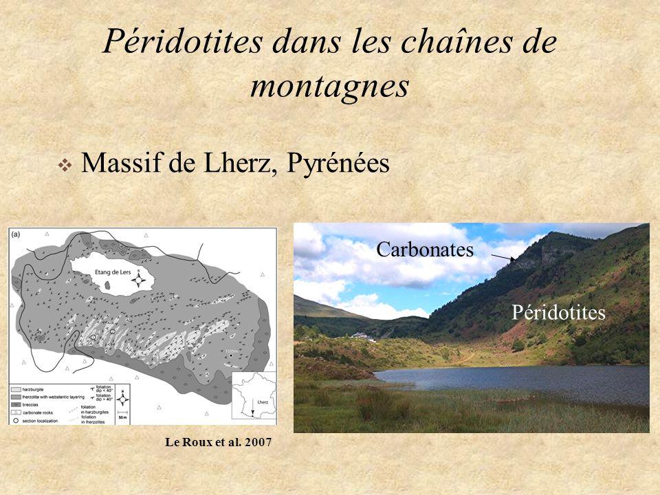 Péridotites dans les chaînes de montagnes