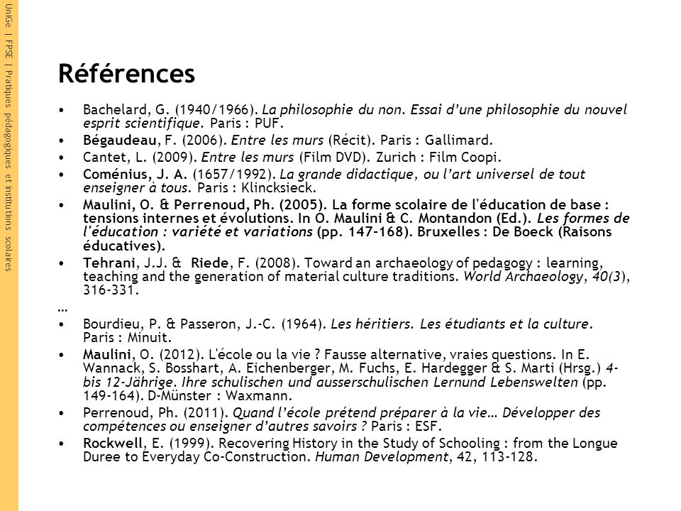 Références Bachelard, G. (1940/1966). La philosophie du non. Essai d'une philosophie du nouvel esprit scientifique. Paris : PUF.