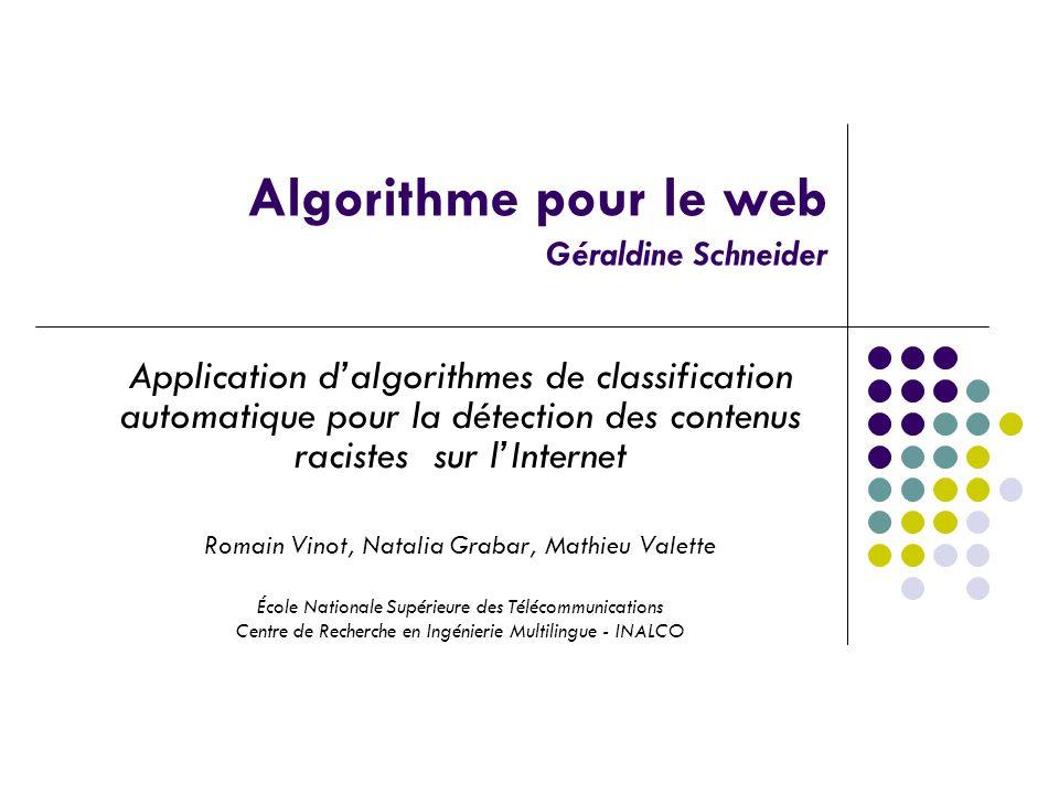 Algorithme pour le web Géraldine Schneider