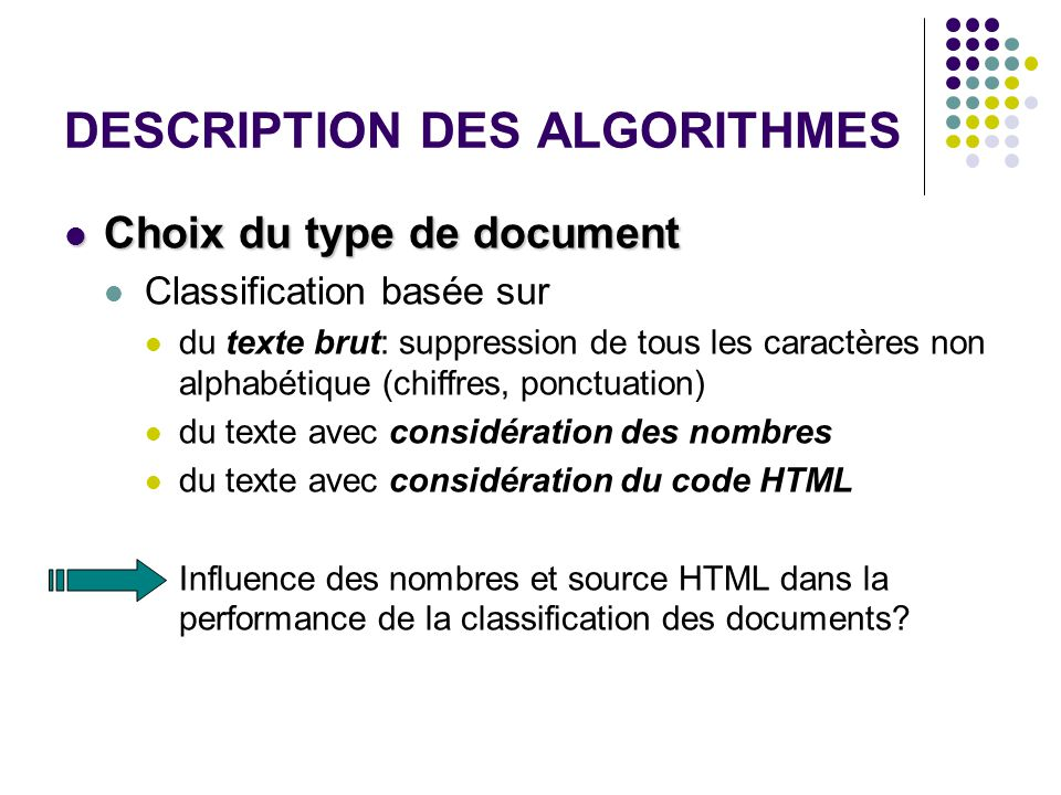 DESCRIPTION DES ALGORITHMES