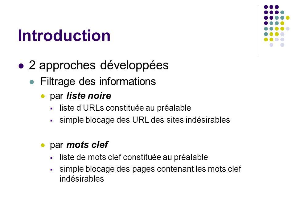 Introduction 2 approches développées Filtrage des informations