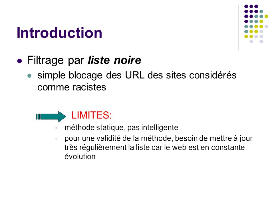 Introduction Filtrage par liste noire