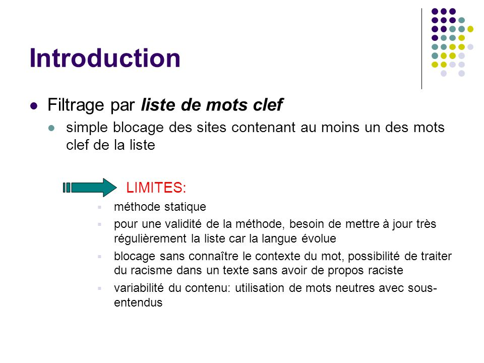 Introduction Filtrage par liste de mots clef