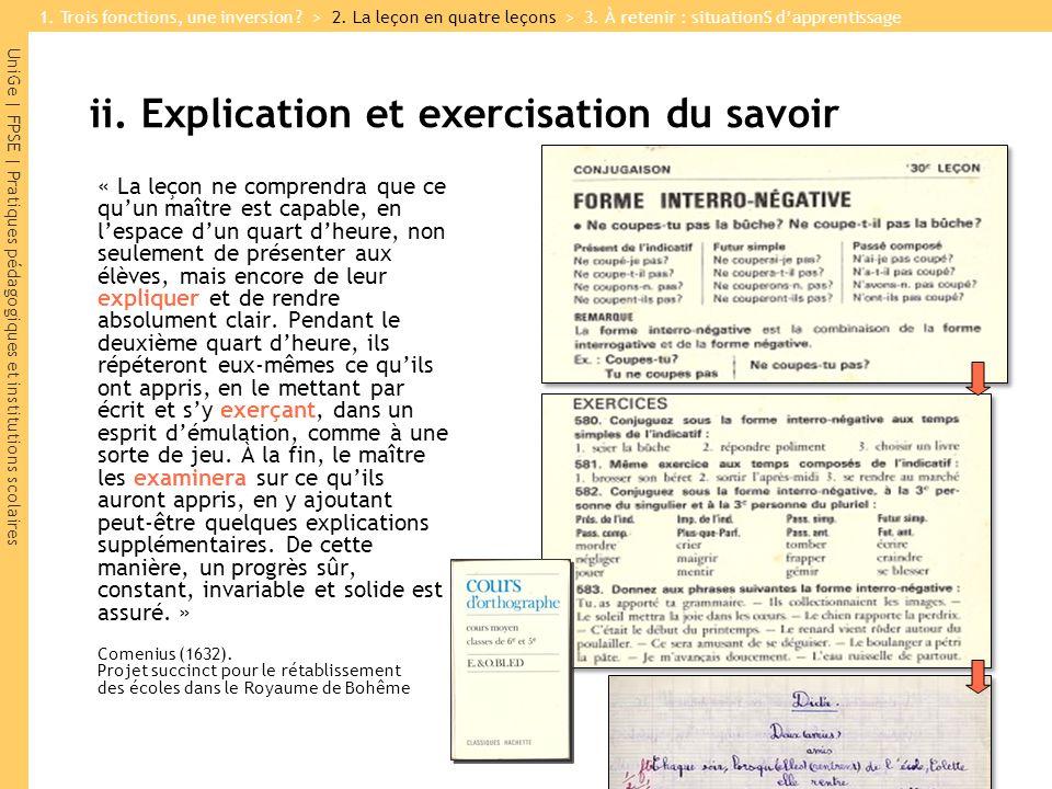 ii. Explication et exercisation du savoir
