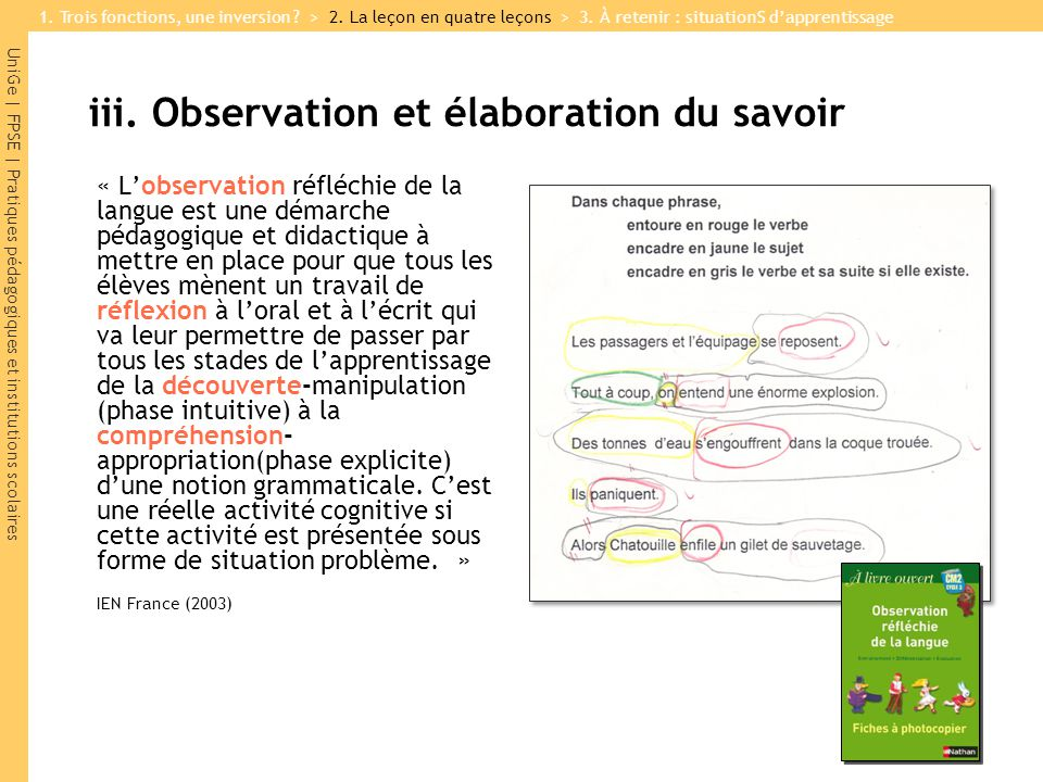 iii. Observation et élaboration du savoir