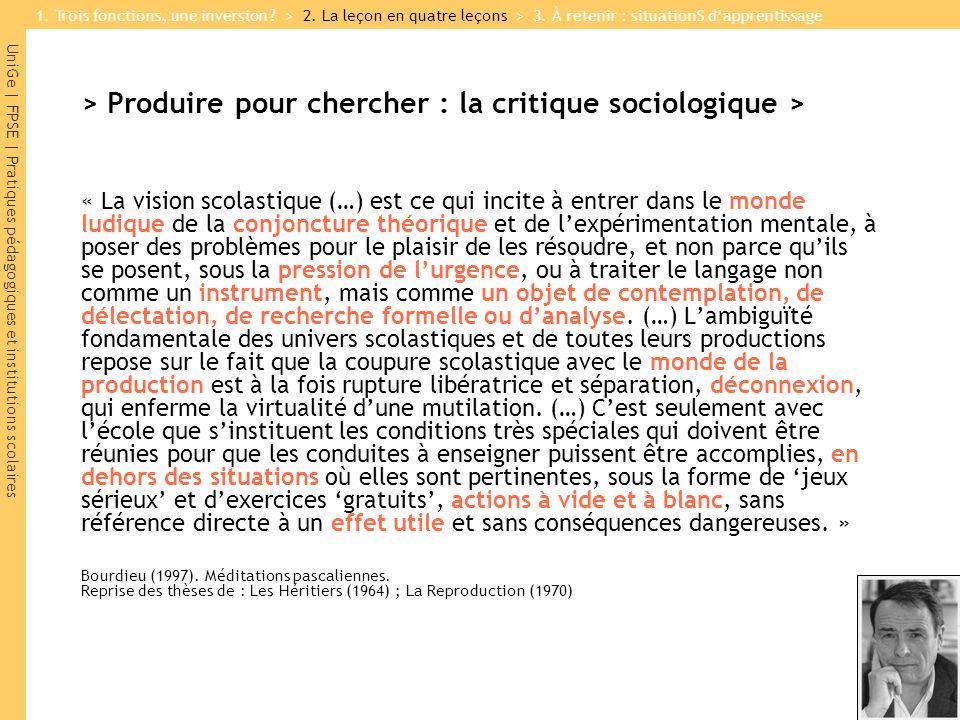 > Produire pour chercher : la critique sociologique >