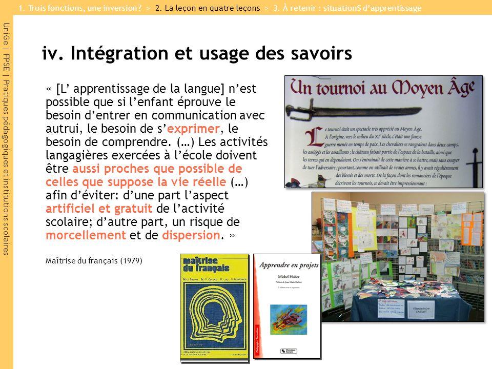 iv. Intégration et usage des savoirs