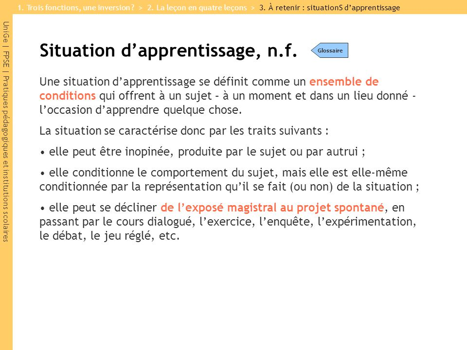 Situation d'apprentissage, n.f.