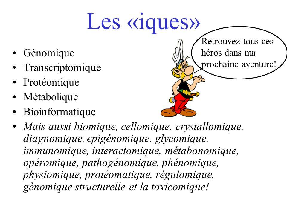 Les «iques» Génomique Transcriptomique Protéomique Métabolique