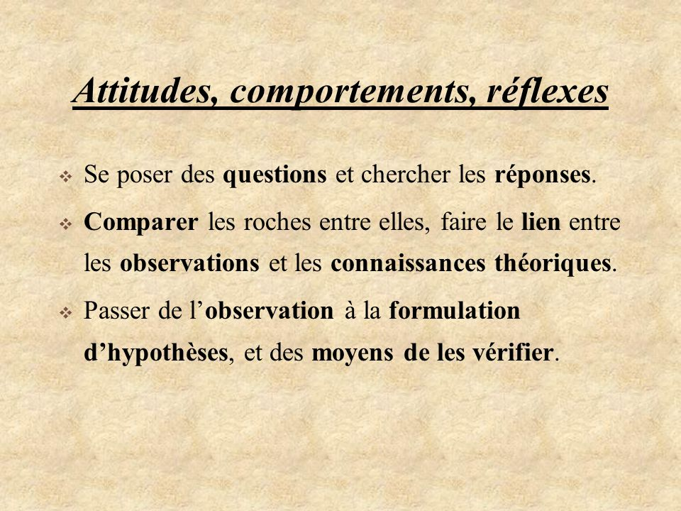 Attitudes, comportements, réflexes
