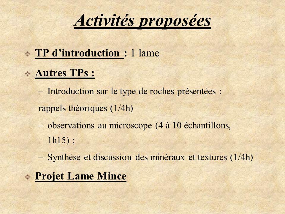 Activités proposées TP d'introduction : 1 lame Autres TPs :