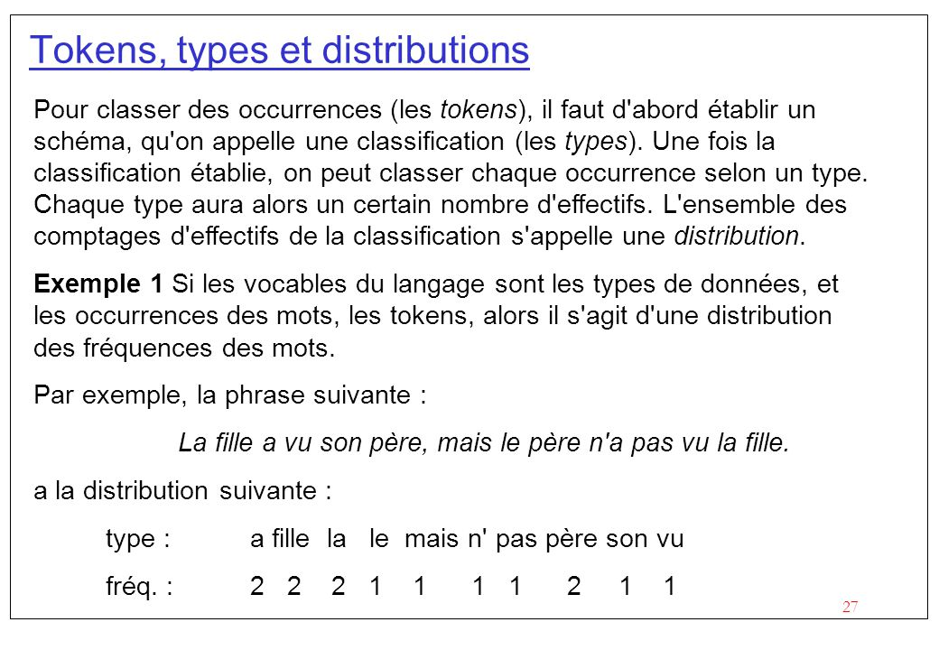 Tokens, types et distributions