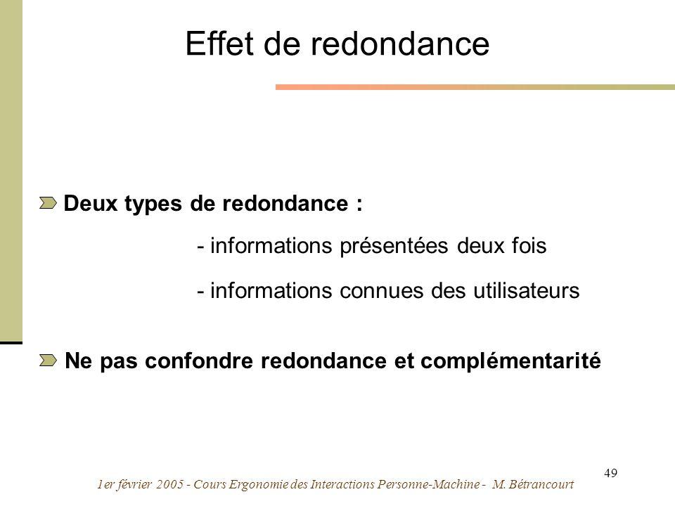 Effet de redondance Deux types de redondance :