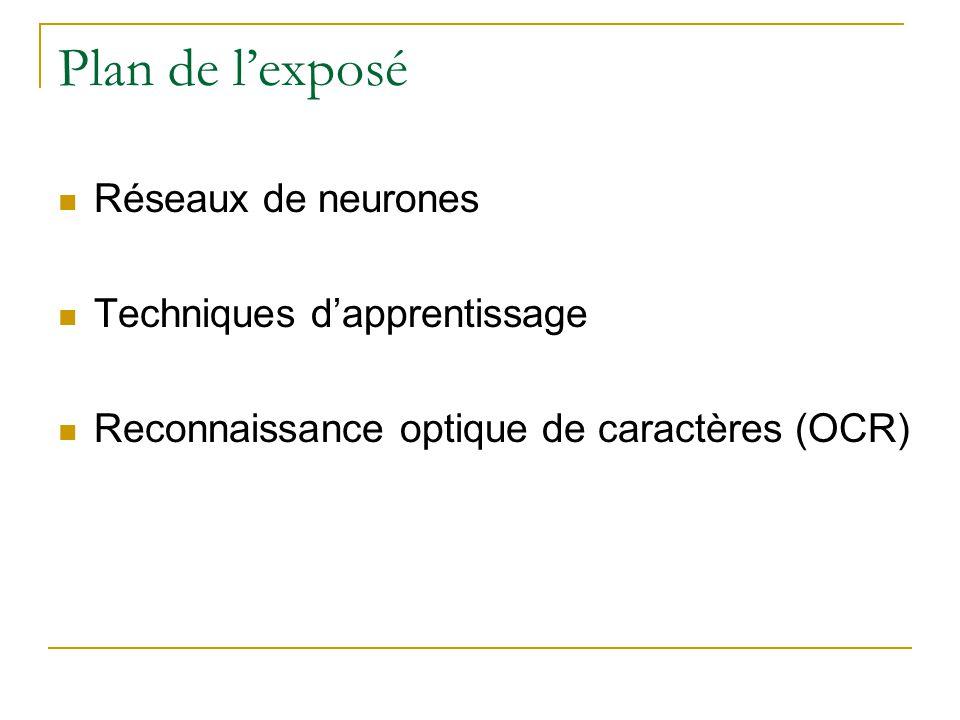 Plan de l'exposé Réseaux de neurones Techniques d'apprentissage