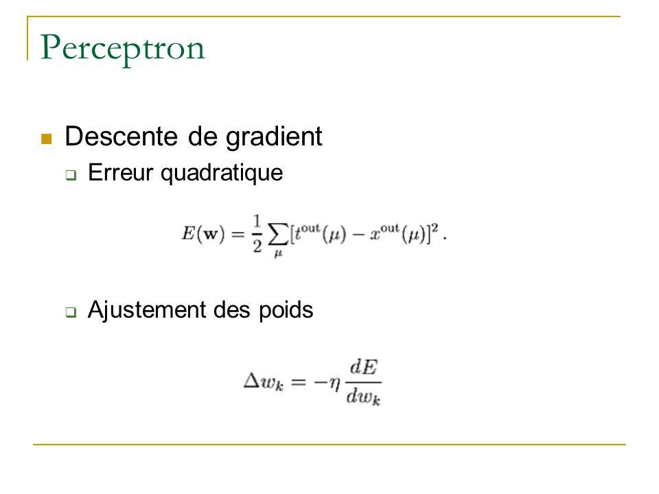 Perceptron Descente de gradient Erreur quadratique