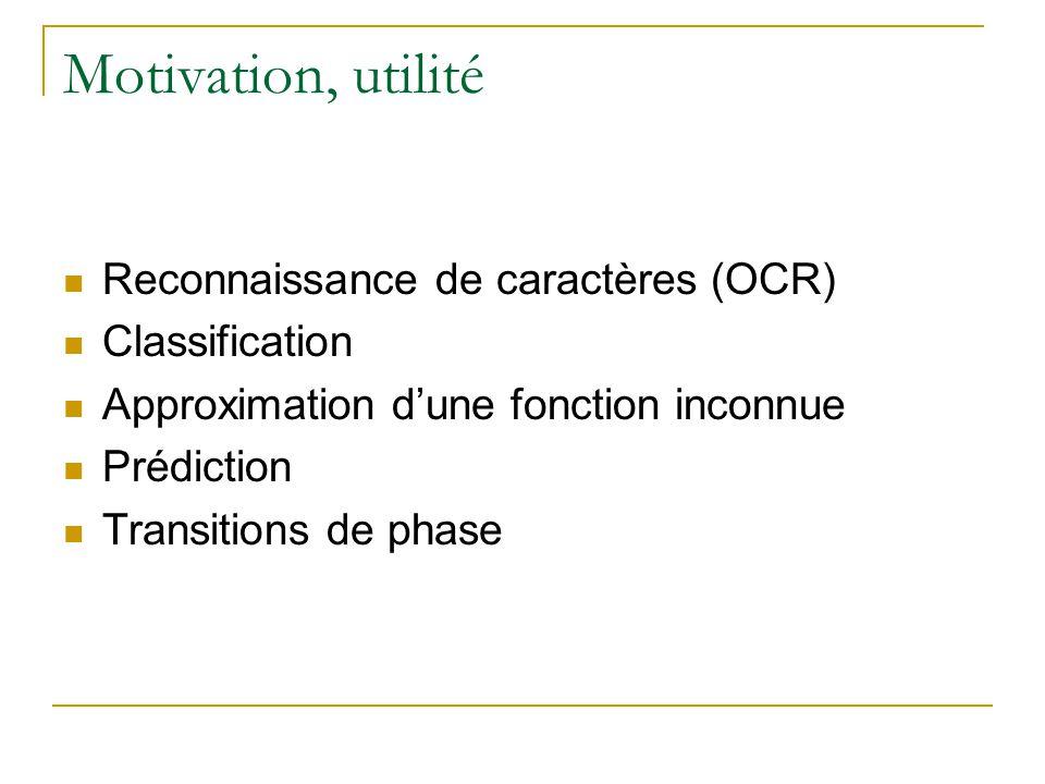 Motivation, utilité Reconnaissance de caractères (OCR) Classification