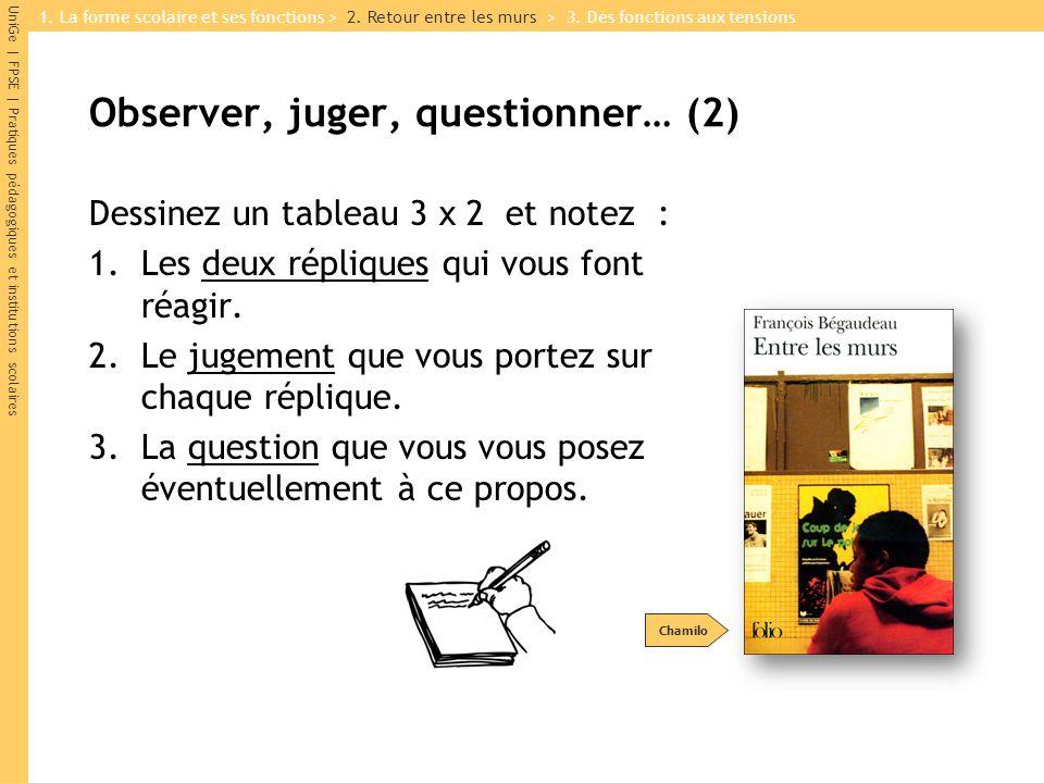 Observer, juger, questionner… (2)