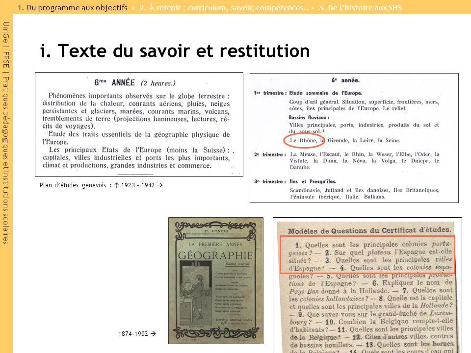 i. Texte du savoir et restitution