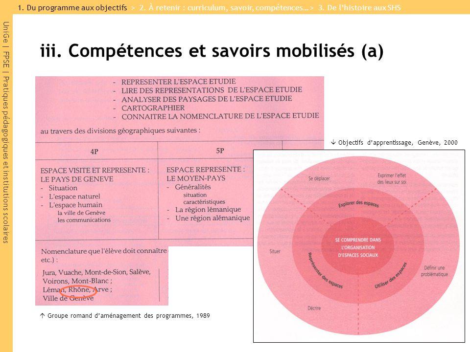 iii. Compétences et savoirs mobilisés (a)