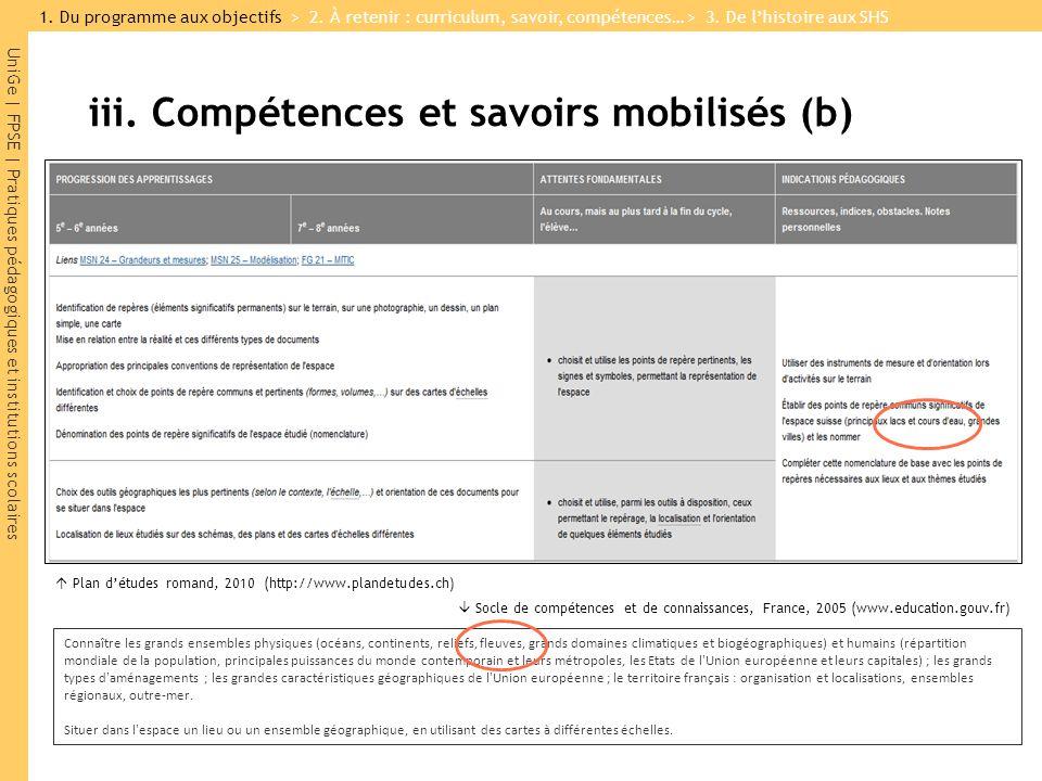 iii. Compétences et savoirs mobilisés (b)