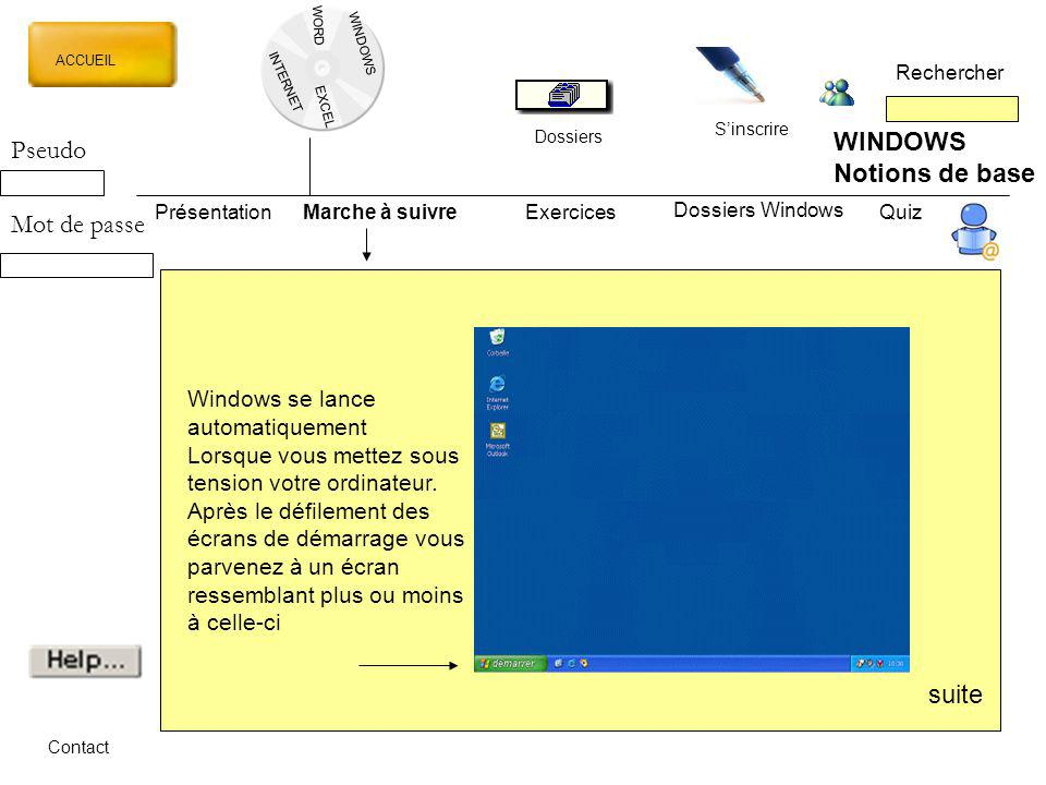 WINDOWS Pseudo Notions de base Mot de passe suite