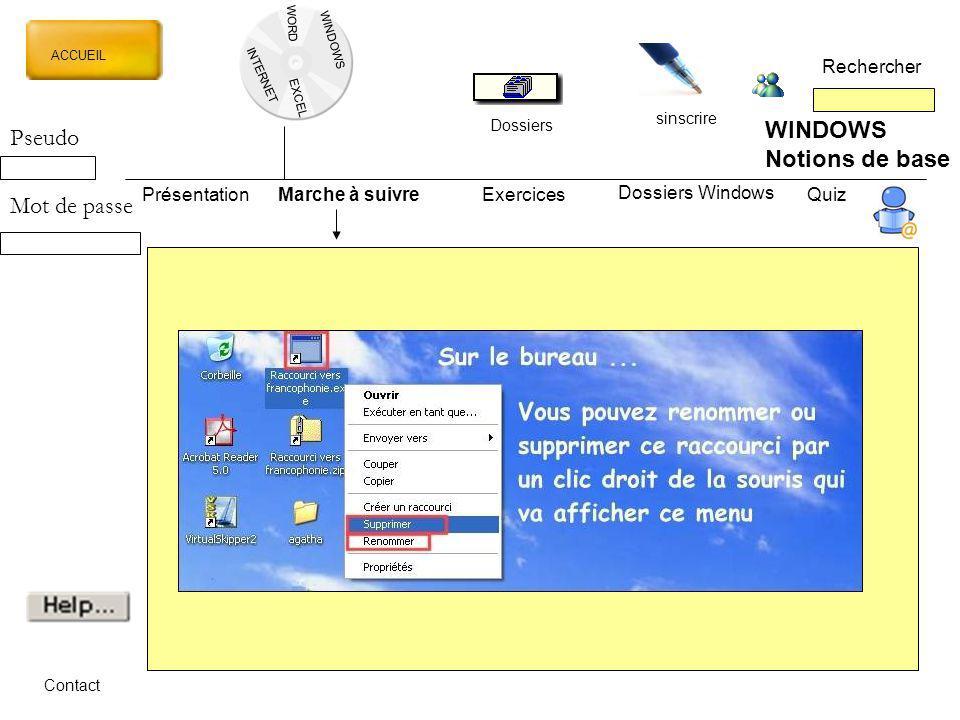 WINDOWS Pseudo Notions de base Mot de passe Rechercher Présentation