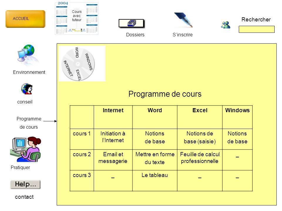 Programme de cours Rechercher Internet Word Excel Windows cours 1