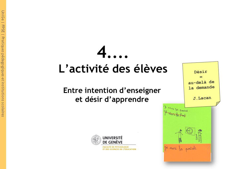 4.... L'activité des élèves Désir = au-delà de la demande. J.Lacan. Entre intention d'enseigner et désir d'apprendre.