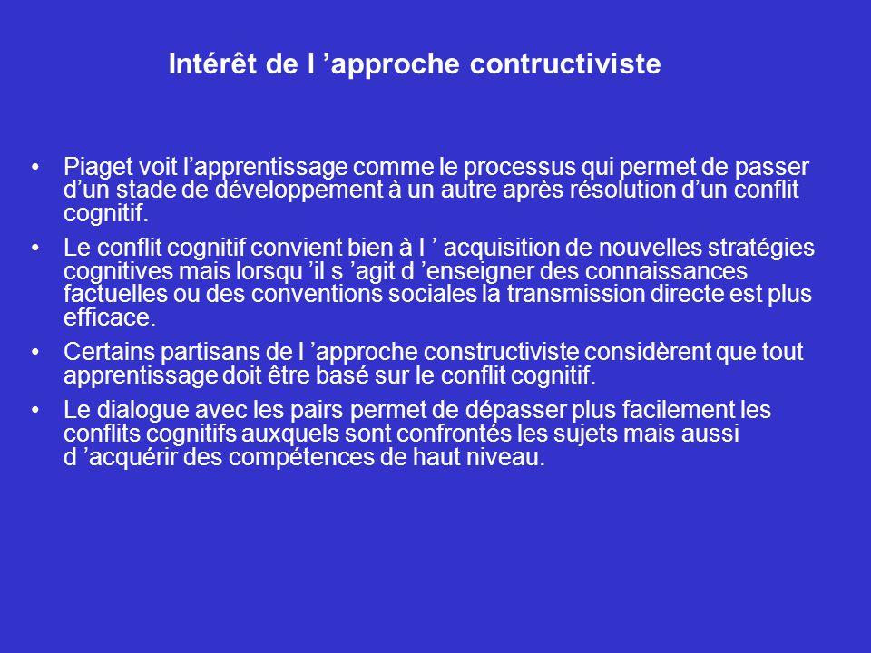 Intérêt de l 'approche contructiviste